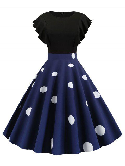 Ruffle Polka Dot Floral Fit and Flare Dress - MIDNIGHT BLUE 2XL