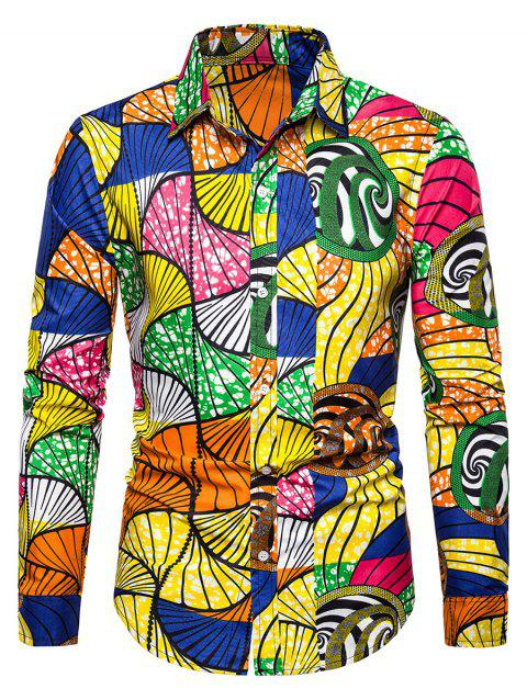 Printed Button Up Slim Fit Long Sleeve Shirt - multicolor 3XL
