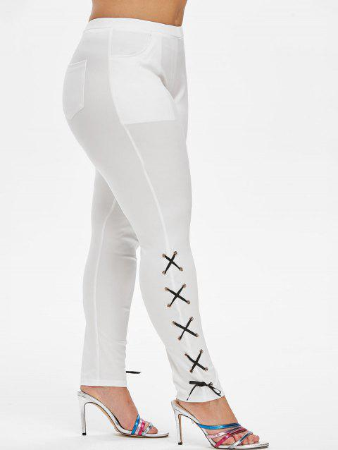 Lace Up Side Pockets Skinny Plus Size Pants - WHITE 5X