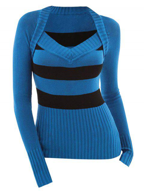 Stripes Color Block V Neck Pullover Plus Size Sweater - BLUE 1X