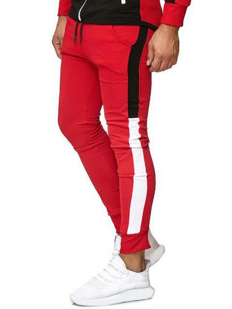Color Block Leisure Jogger Pants - RED XS