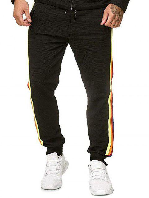 Side Colorful Striped Drawstring Jogger Pants - BLACK XS