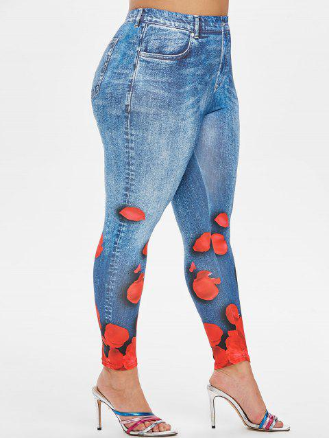 Plus Size Petal Print High Waisted Jeggings - MARBLE BLUE 4X