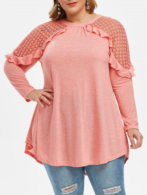 Lace Guipure Ruffle Long Sleeve Plus Size Top - PINK 5X