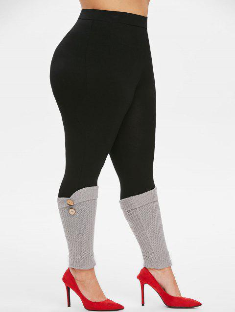 Plus Size High Rise Leggings with Button Embellished Boot Cuffs - BLACK L