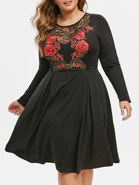 Plus Size Lace Panel Floral Embroidery Long Sleeve Dress - BLACK 1X