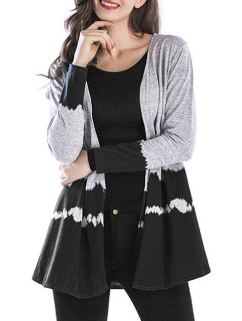 Printed Heathered Open Front Cardigan - BLACK 2XL