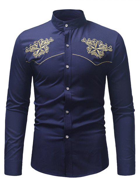 Star Embroidery Casual Long-sleeved Shirt - MIDNIGHT BLUE XL