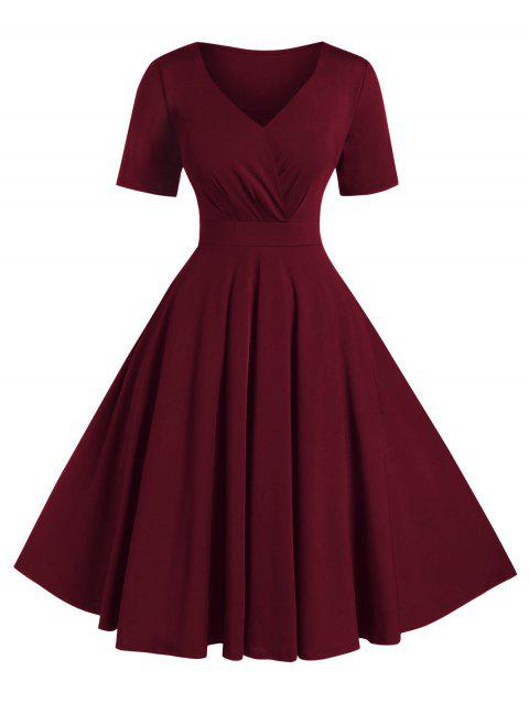 Plus Size Solid High Waist V Neck Vintage Dress - RED WINE 5X