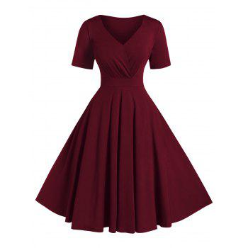 Plus Size Solid High Waist V Neck Vintage Dress