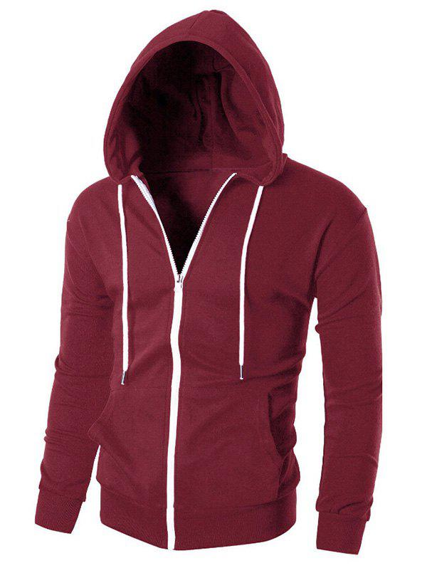 Solid Color Zipper Sport Hoodie - RED L