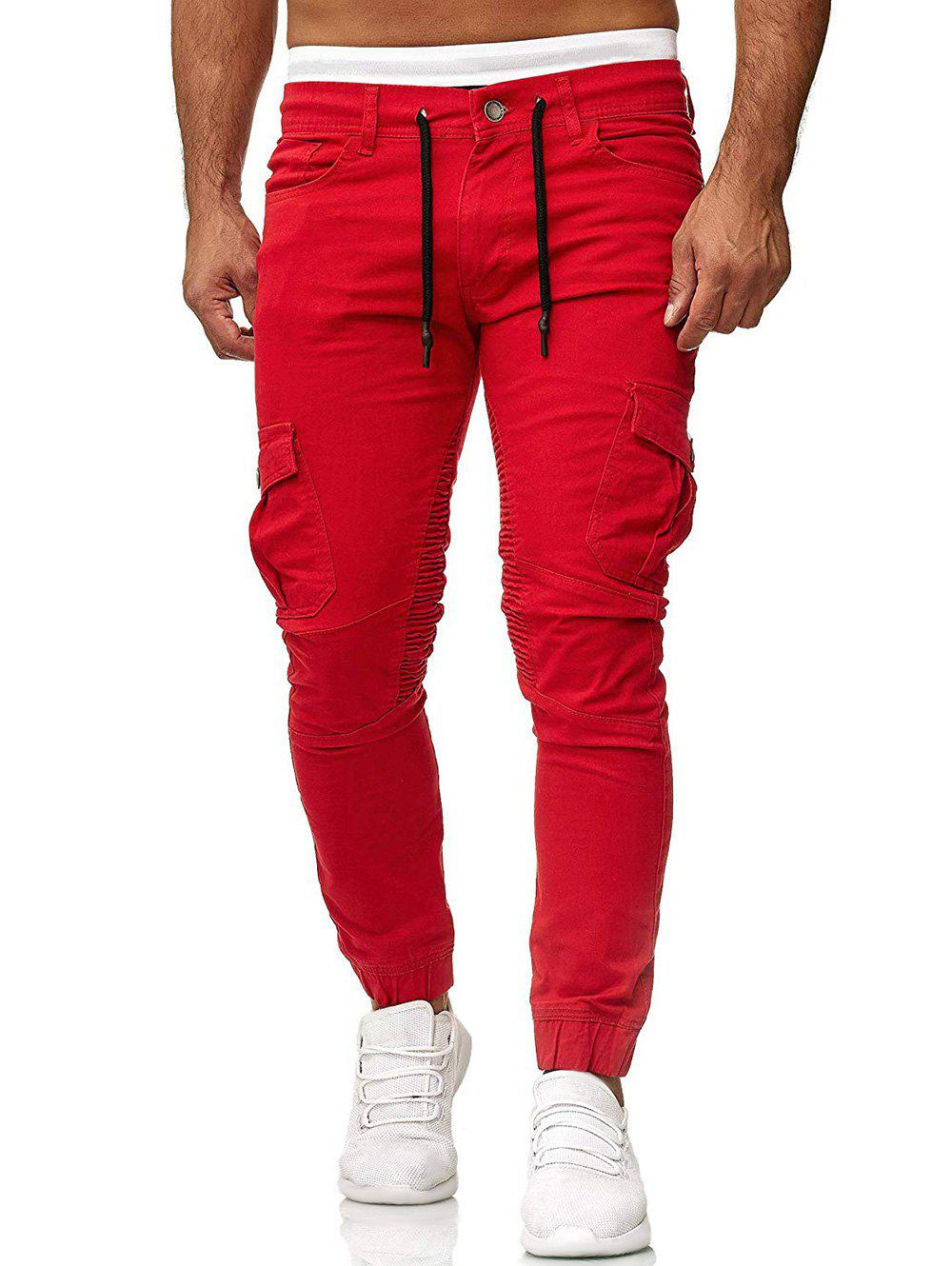 Pleated Trim Drawstring Cargo Jogger Pants - RED 3XL