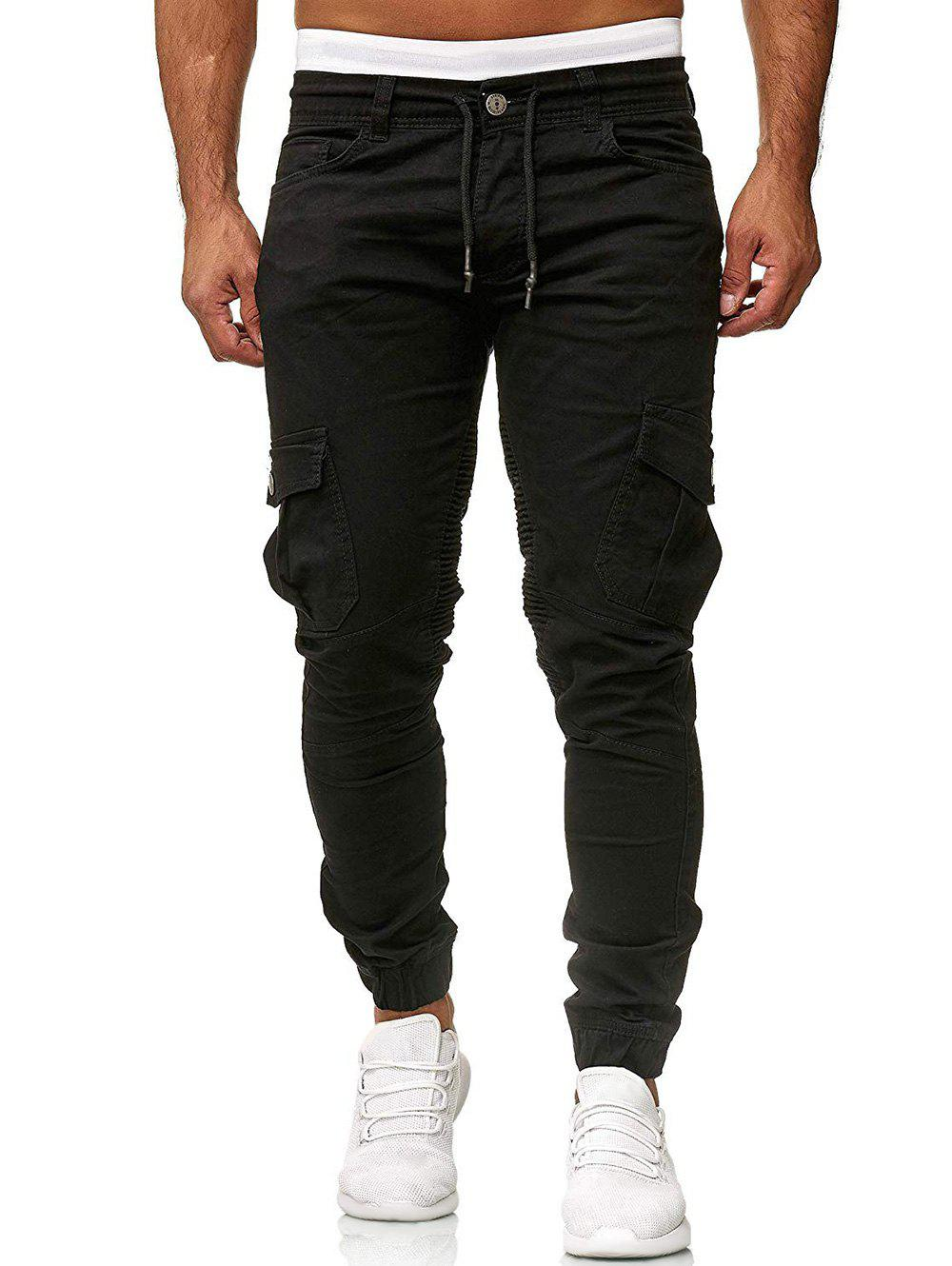 Pleated Trim Drawstring Cargo Jogger Pants - BLACK L
