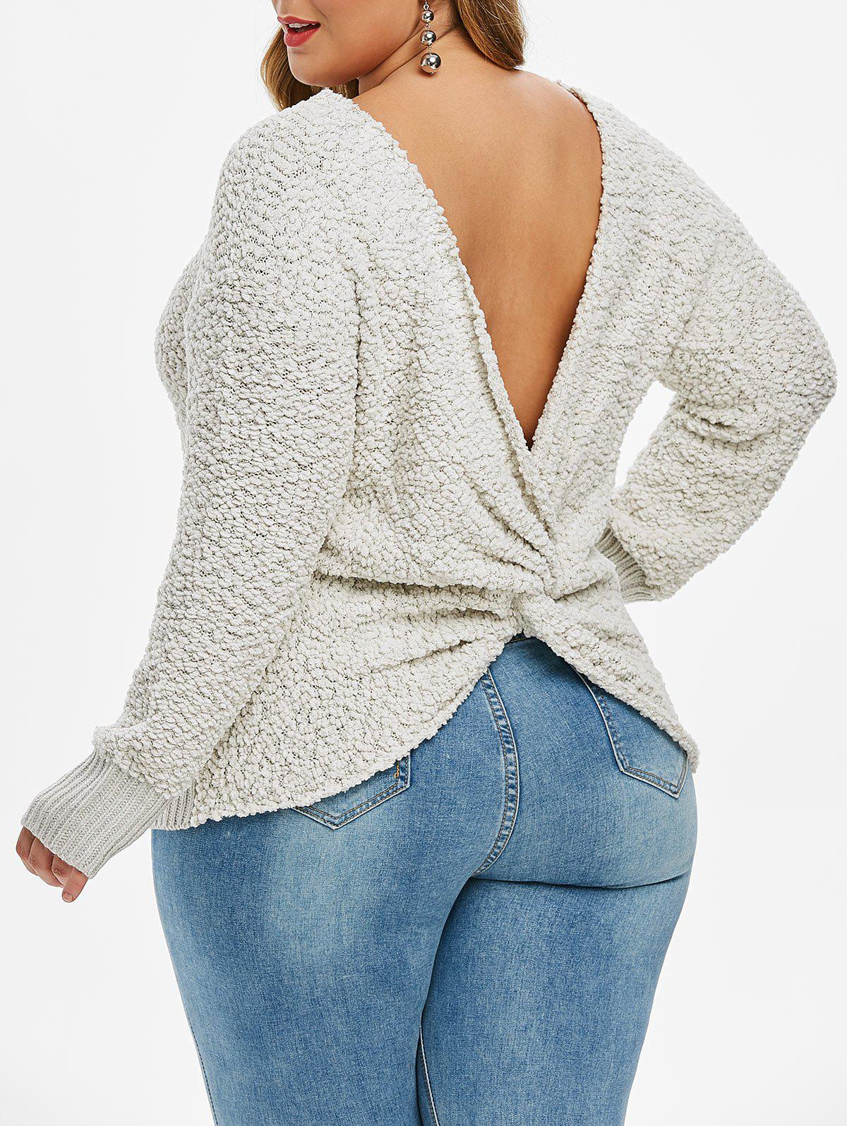Faux Shearling Twisted Back Pullover Plus Size Sweater - GRAY M