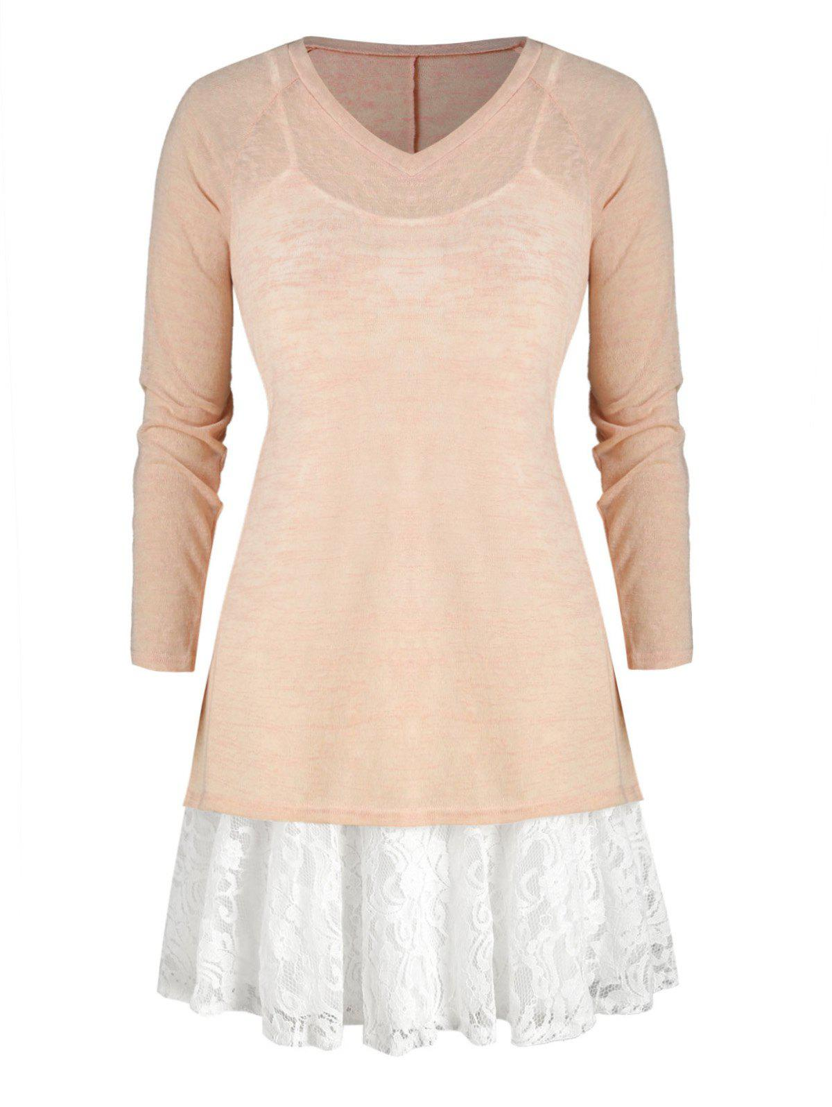 Plus Size Lace Panel Cami Dress And V Neck Knit Top - APRICOT L