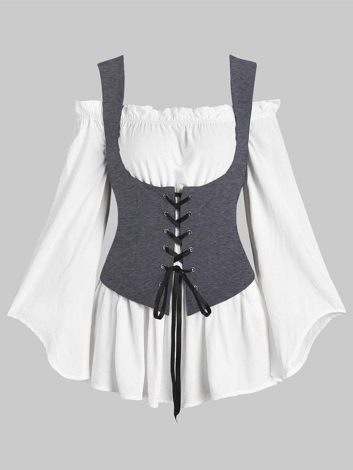 Off Shoulder Blouse and Lace-up Waistcoat Set - CLOUDY GRAY 2XL
