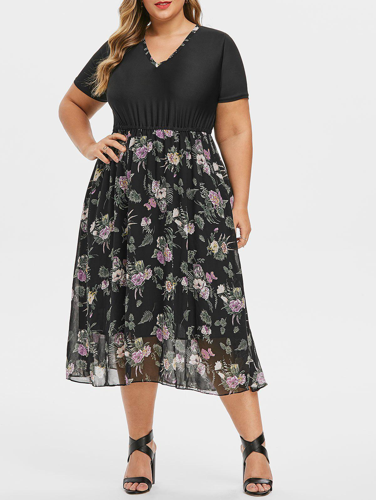 Contrast Floral V Neck A Line Plus Size Dress - BLACK 3X