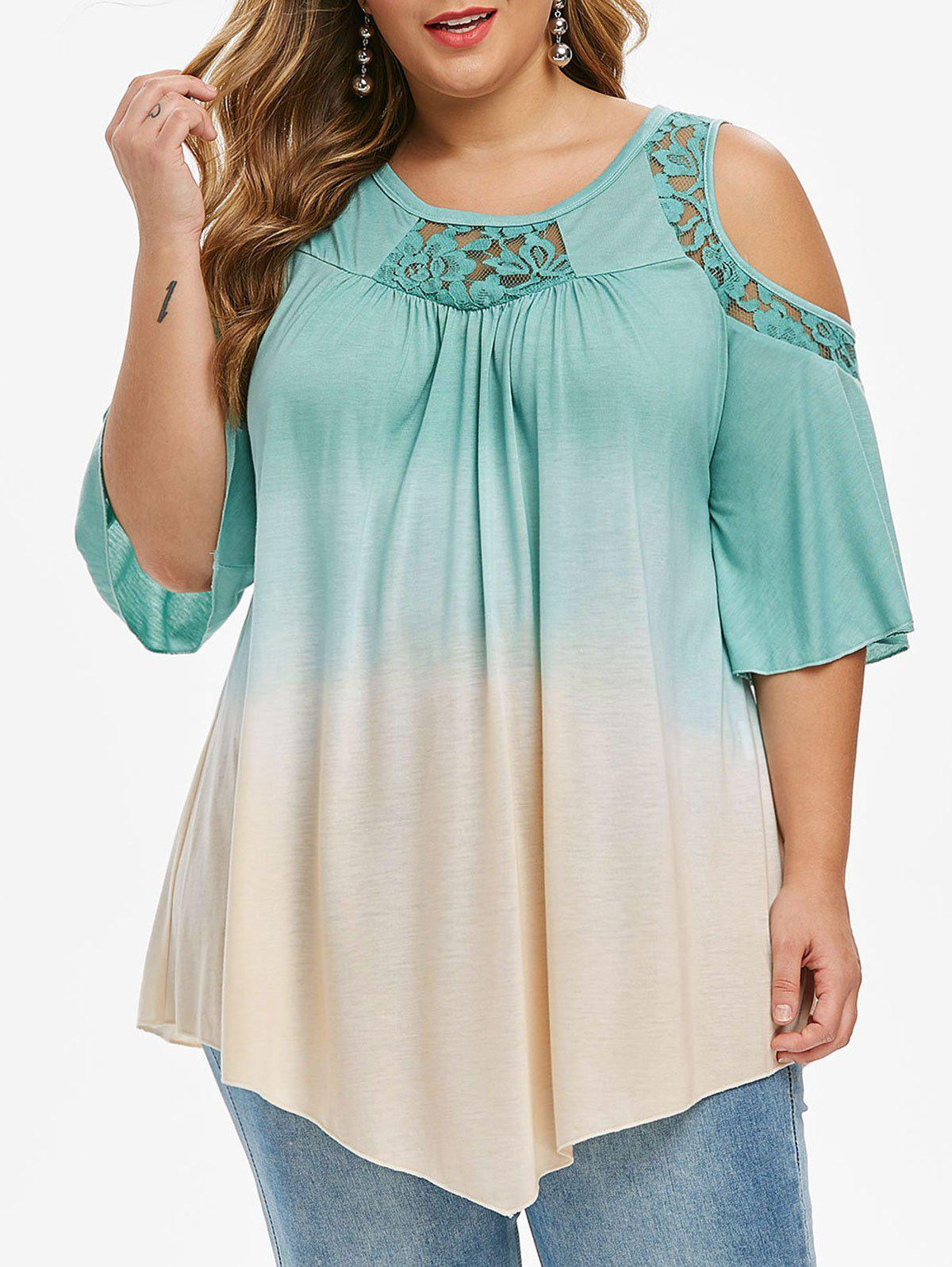 Plus Size Cold Shoulder Dip Dye Print Lace Insert T-shirt - MACAW BLUE GREEN 2X