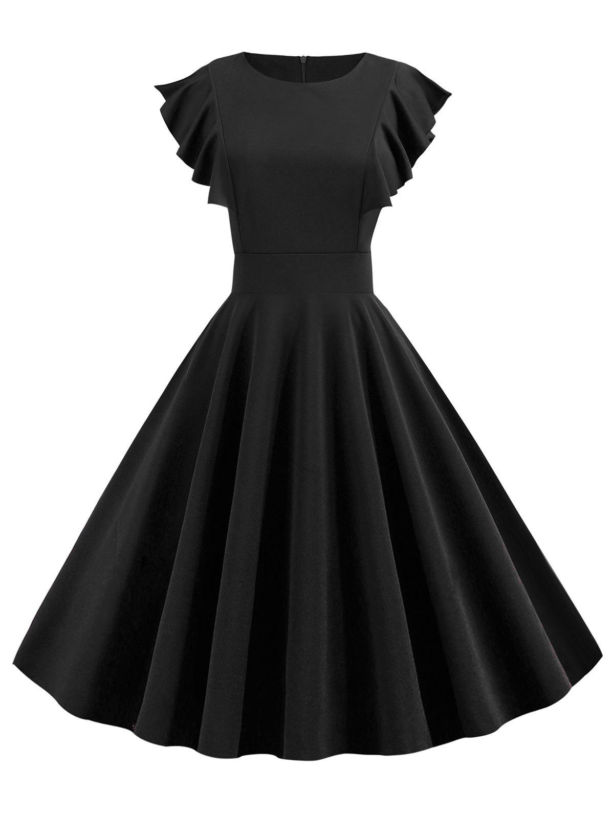Ruffle Fit and Flare Dress - BLACK 2XL