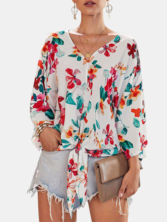Self-tie Wide Sleeve Printed Blouse - WHITE XL
