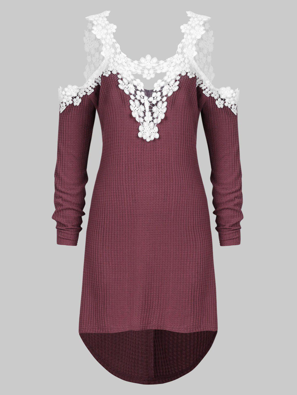 Plus Size Lace Applique Cold Shoulder High Low Knitwear - RED WINE 5X