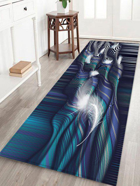 Abstract Feather Striped Print Floor Mat - PEACOCK BLUE W16 X L47 INCH