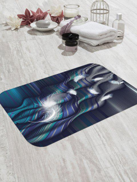 Abstract Feather Striped Print Floor Mat - PEACOCK BLUE W20 X L31.5 INCH