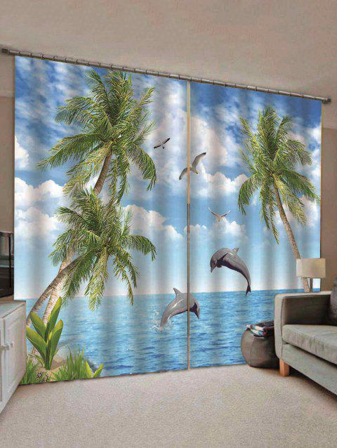 2PCS Dolphin Sky Pattern Window Curtains - multicolor C W75×L166CM×2PCS