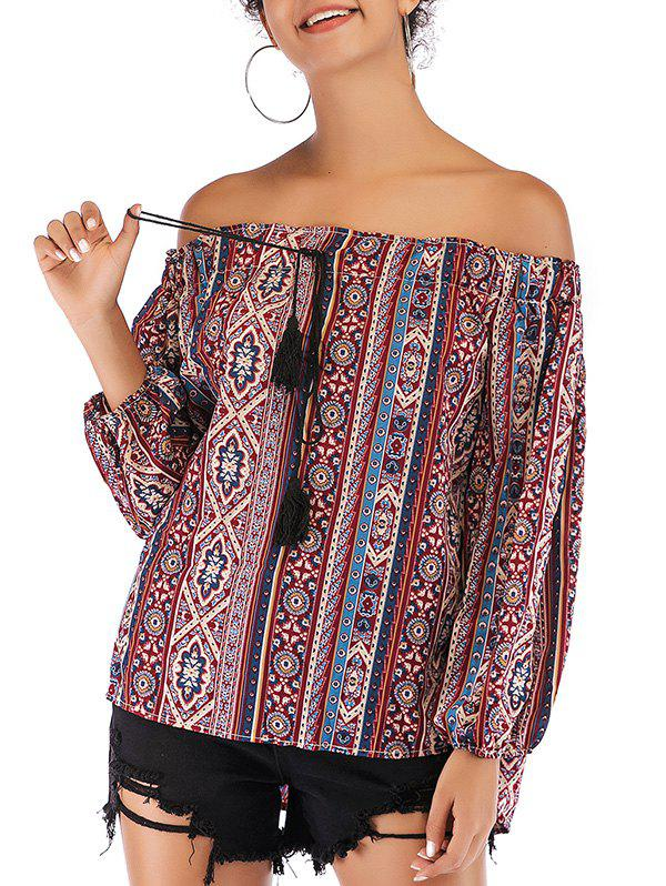 Off Shoulder Tassel Ethnic Flower Blouse - multicolor S