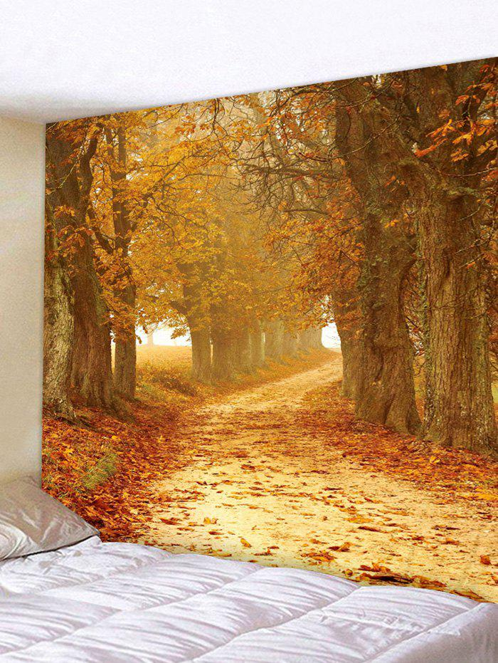 Sunset Forest Path 3D Print Wall Tapestry - GOLDEN BROWN W79 X L71 INCH