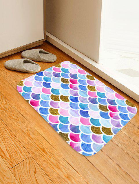 Mermaid Scales Printed Floor Mat - multicolor C W16 X L24 INCH