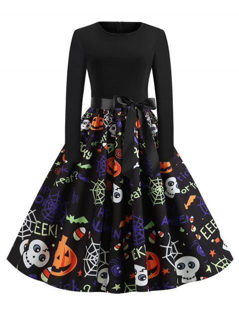 Plus Size Vintage Pumpkin Ghost Printed Halloween Swing Dress - multicolor D 1X