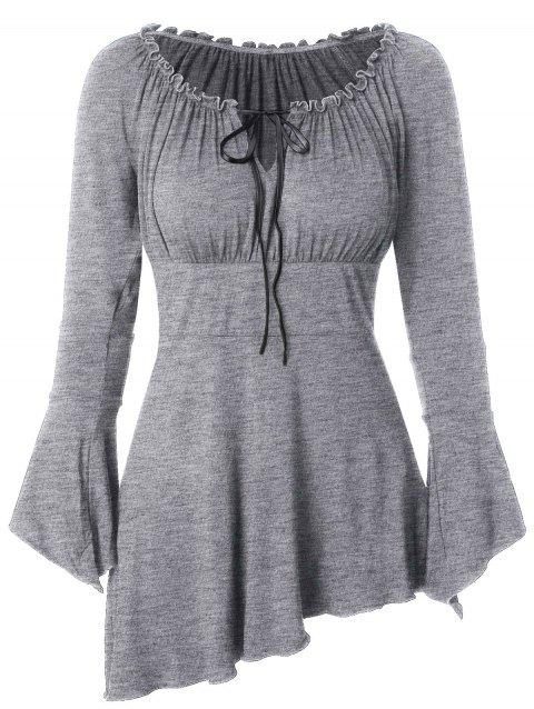 Bell Sleeve Asymmetric T Shirt - BATTLESHIP GRAY 3XL