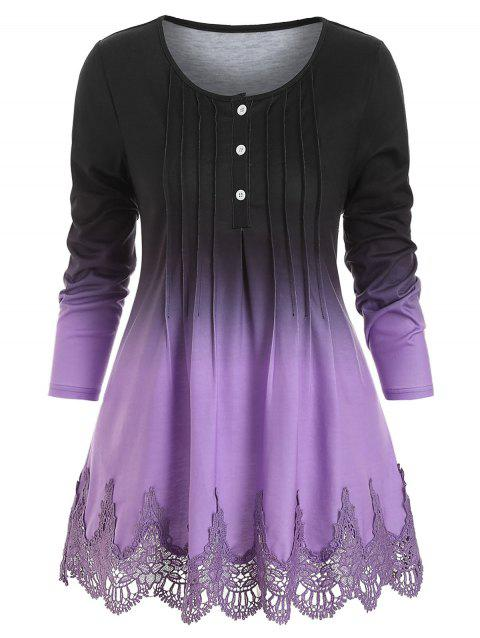 Pintuck Lace Panel Scalloped Ombre Tee - PURPLE 3XL