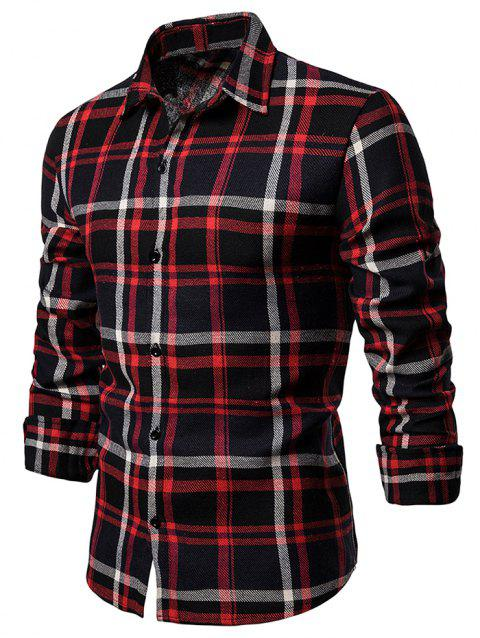 Leisure Plaid Print Button Up Shirt - BLACK 2XL