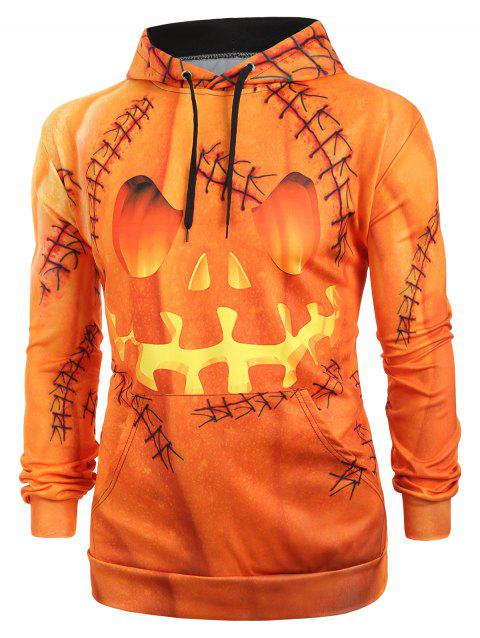 Halloween Pumpkin Print Kangaroo Pocket Pullover Hoodie - multicolor XL