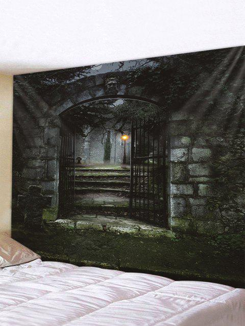 Halloween Night Gate Print Tapestry Wall Hanging Art Decoration - multicolor W59 X L51 INCH