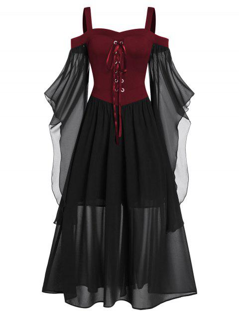 Plus Size Cold Shoulder Butterfly Sleeve Lace Up Halloween Dress - FIREBRICK 1X