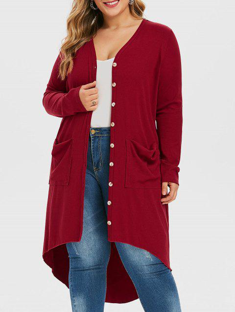 V Neck Ribbed High Low Plus Size Cardigan - RED WINE 1X