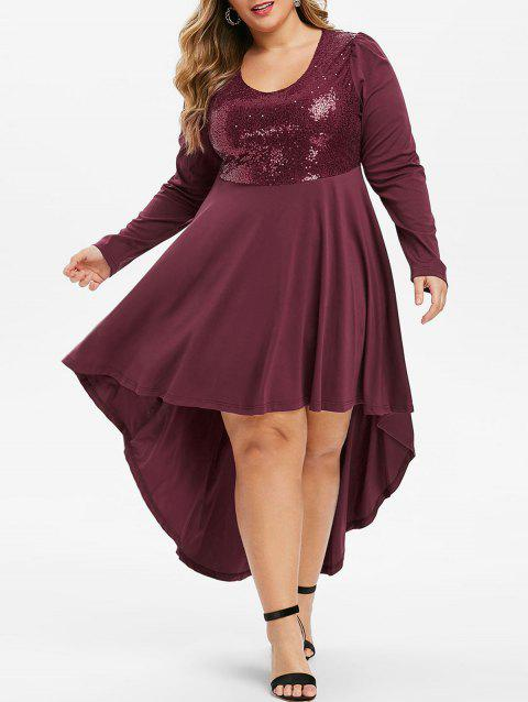 Plus Size Sequined High Low Evening  Dress - RED WINE 2X
