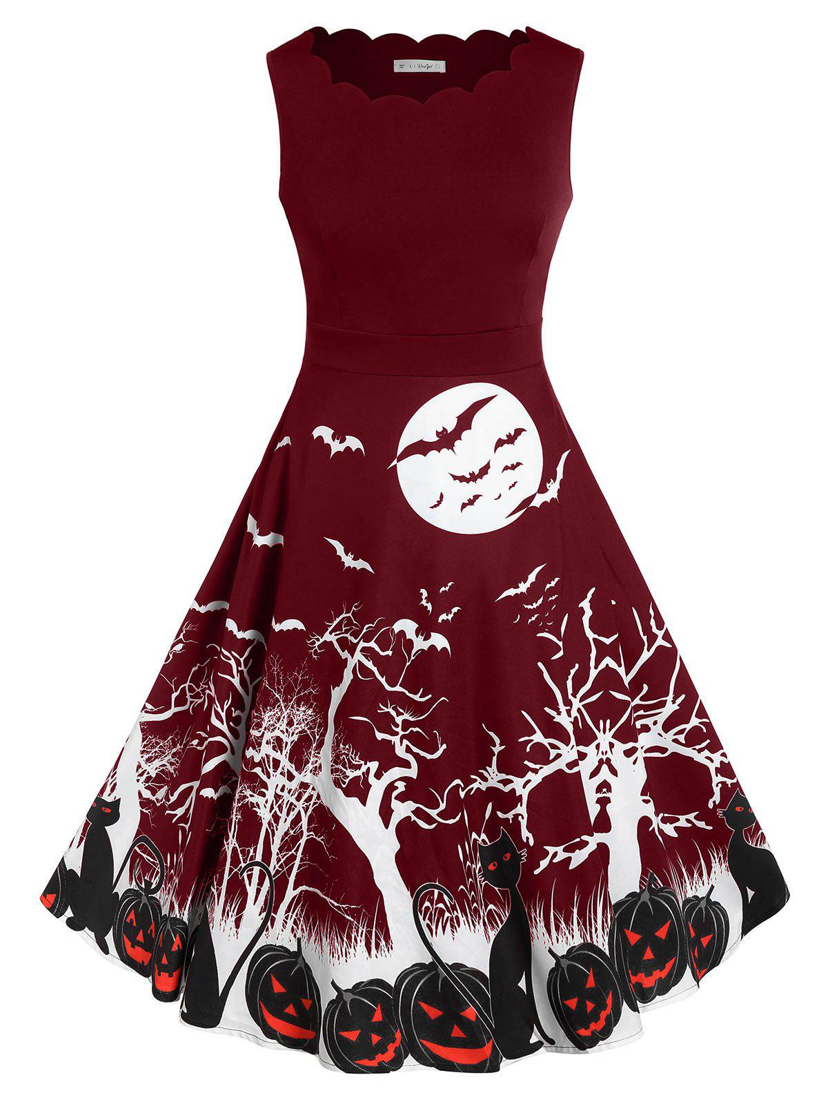 Plus Size Bat Pumpkin Print Halloween Vintage Dress - RED WINE 3X