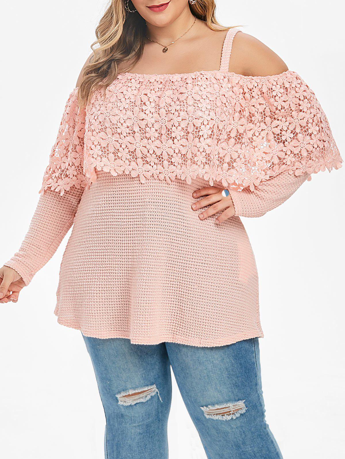 Plus Size Cold Shoulder Lace Overlay  Knitwear - PINK 3X