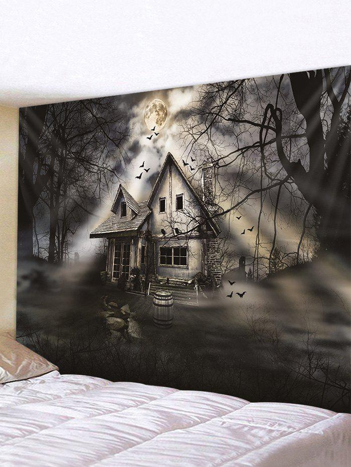 Halloween Moon Night House Print Tapestry Wall Hanging Art Decoration - multicolor W79 X L59 INCH