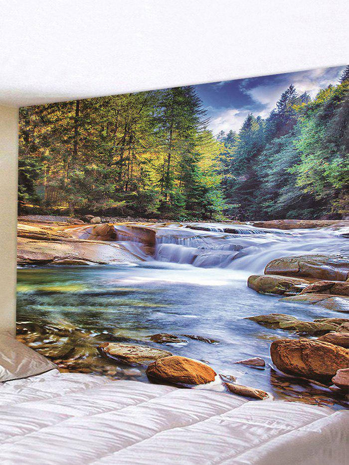 Forest Stream Printed Tapestry Wall Hanging Art Decor - multicolor W79 X L71 INCH