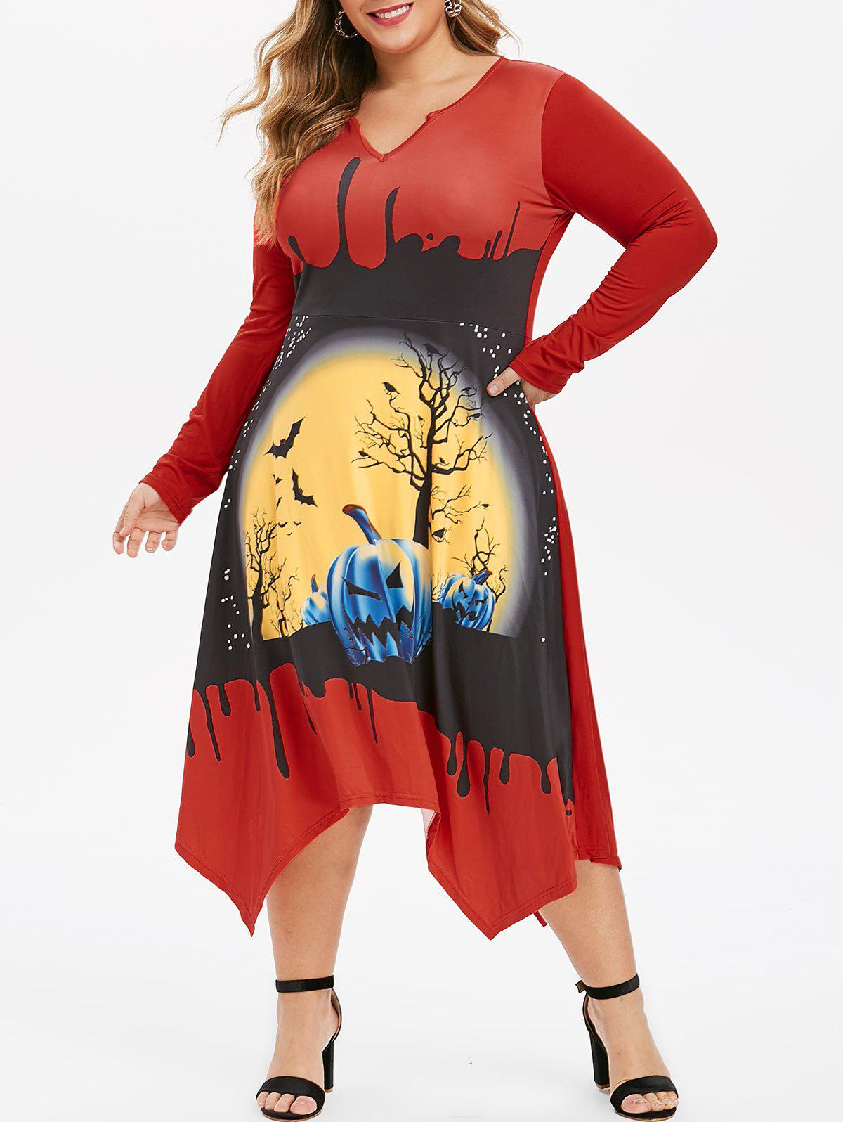 Pumpkin Bat Print V-notch Plus Size Halloween Dress
