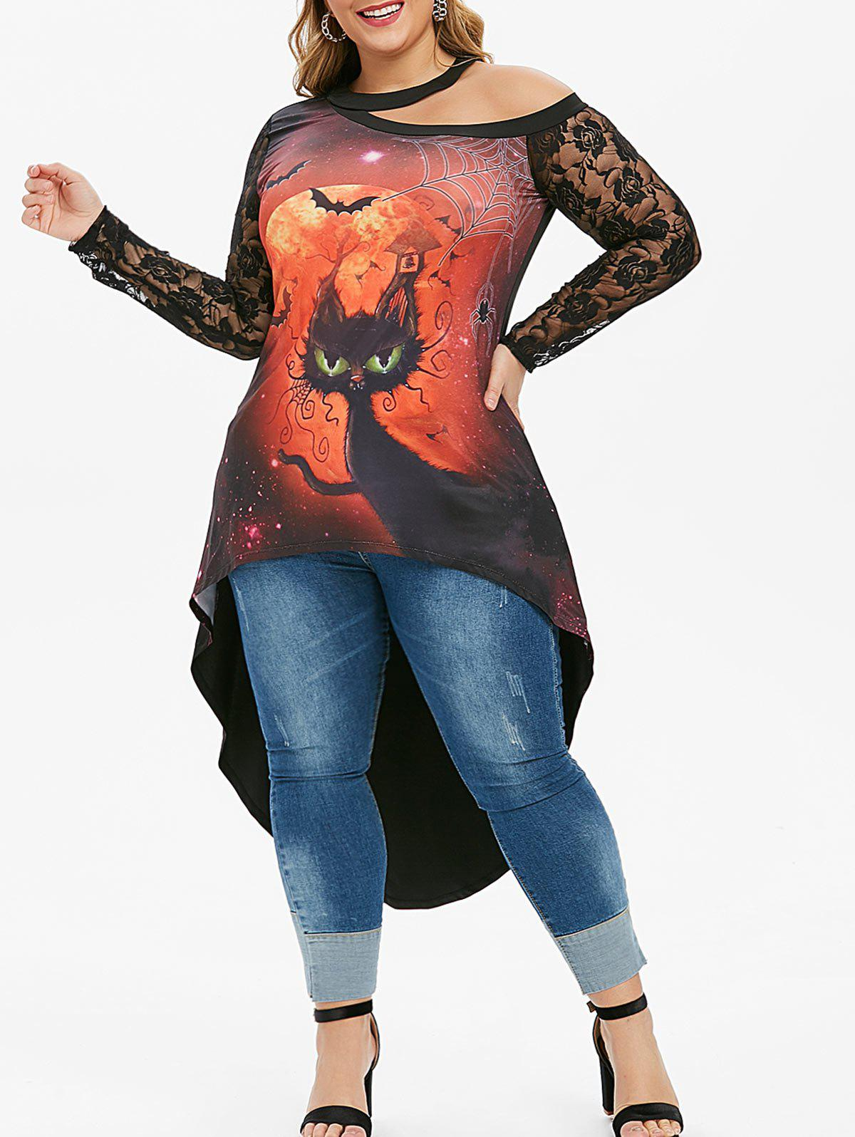 Plus Size Lace Panel Cat Halloween High Low Tee