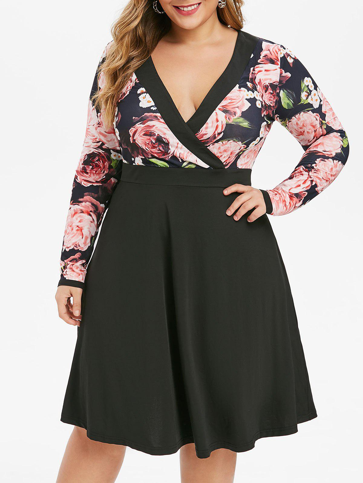 Plus Size Plunging Neck Floral Print Surplice Dress