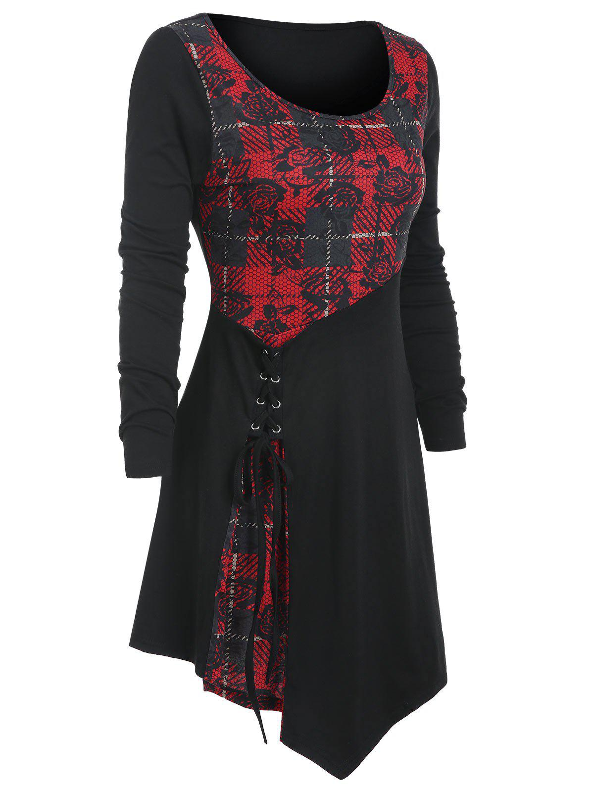 Gothic Plaid Flower Print Lace Up Longline T-shirt - RED WINE 3XL