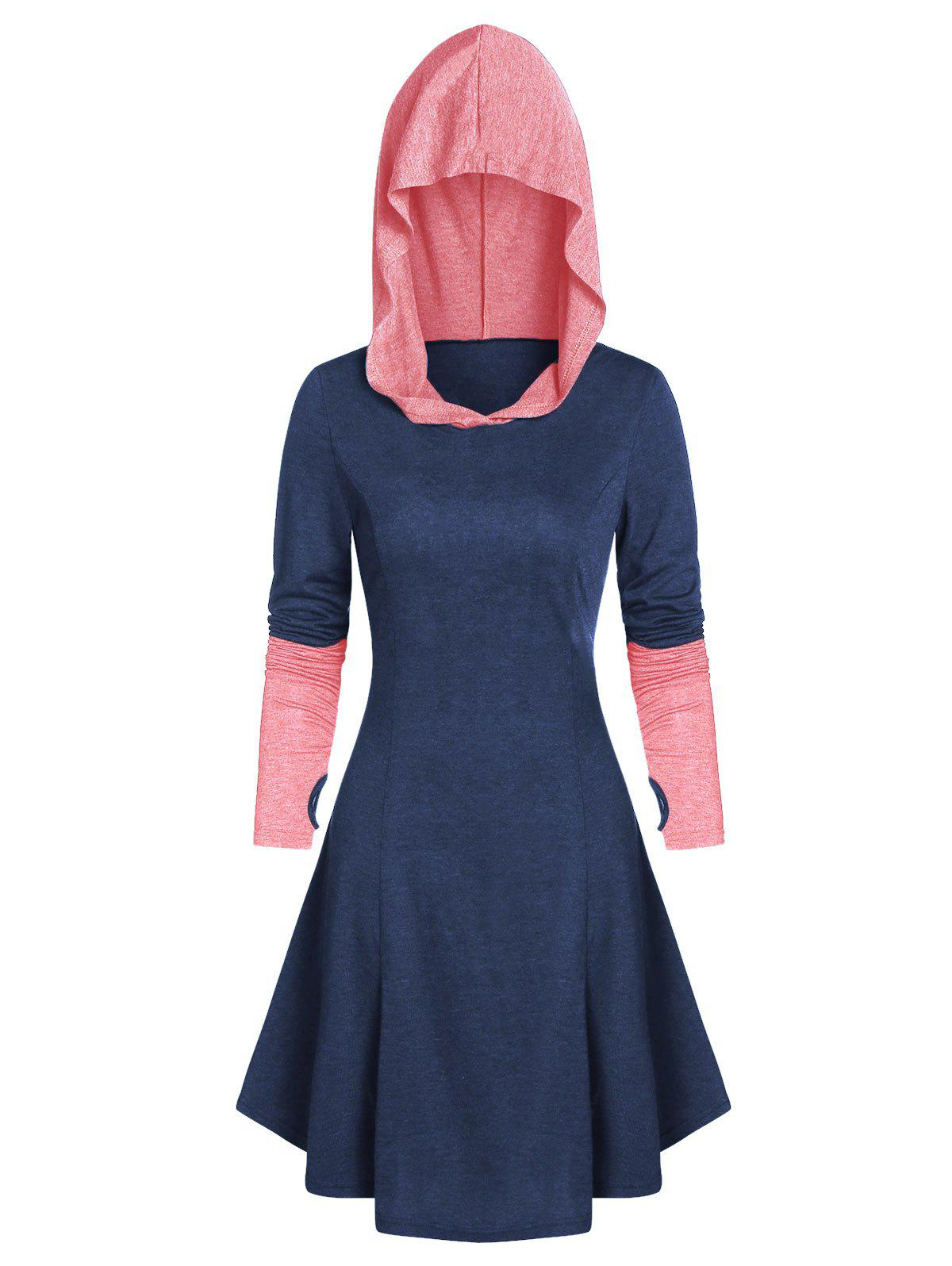 Hooded Glove Sleeve Lace-up Contrast Flare Dress - MIDNIGHT BLUE 3XL