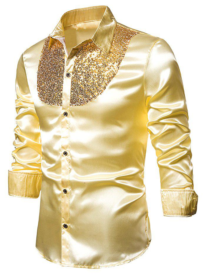 Sequined Panel Button Up Long Sleeve Shirt - YELLOW S